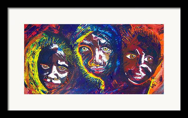Darfur Framed Print featuring the painting Darfur - Eyes Of The Future by Valerie Wolf