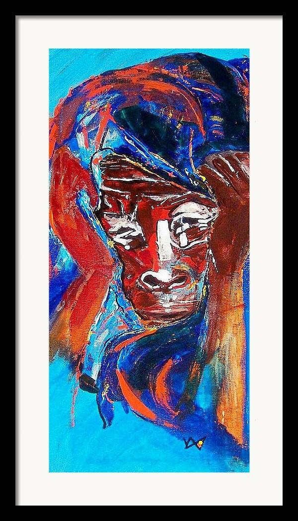 Darfur Framed Print featuring the painting Darfur - She Cries by Valerie Wolf