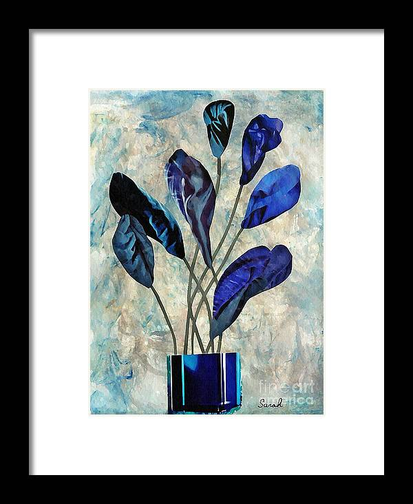 Floral Framed Print featuring the mixed media Dark Blue by Sarah Loft