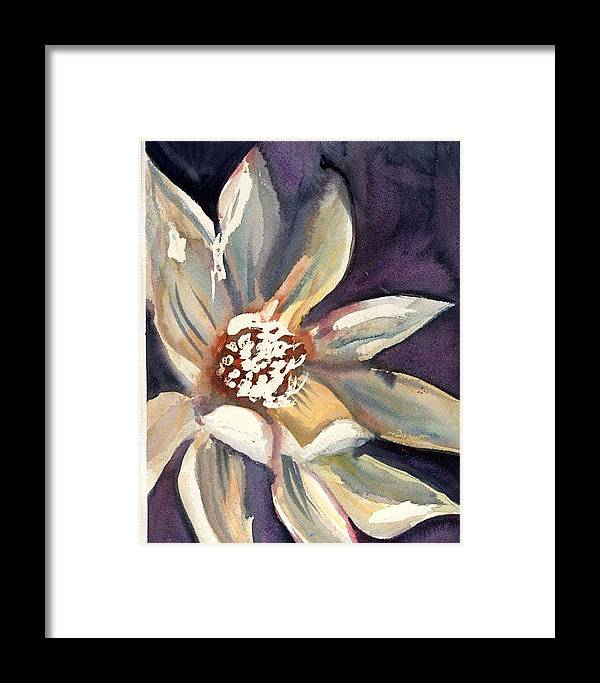Dark Flower Framed Print featuring the painting Dark Flower by Janet Doggett