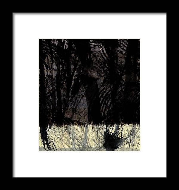 Abstract Landscape Framed Print featuring the mixed media Dark Forest by Marvin Cook