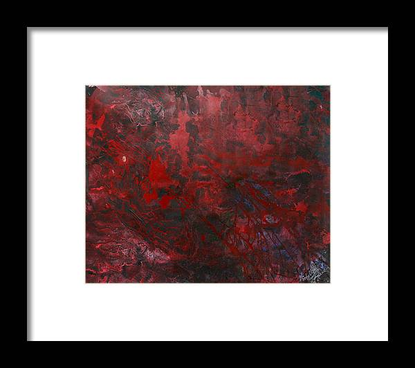 Red And Black Framed Print featuring the painting Dark Light by Michelle Teague
