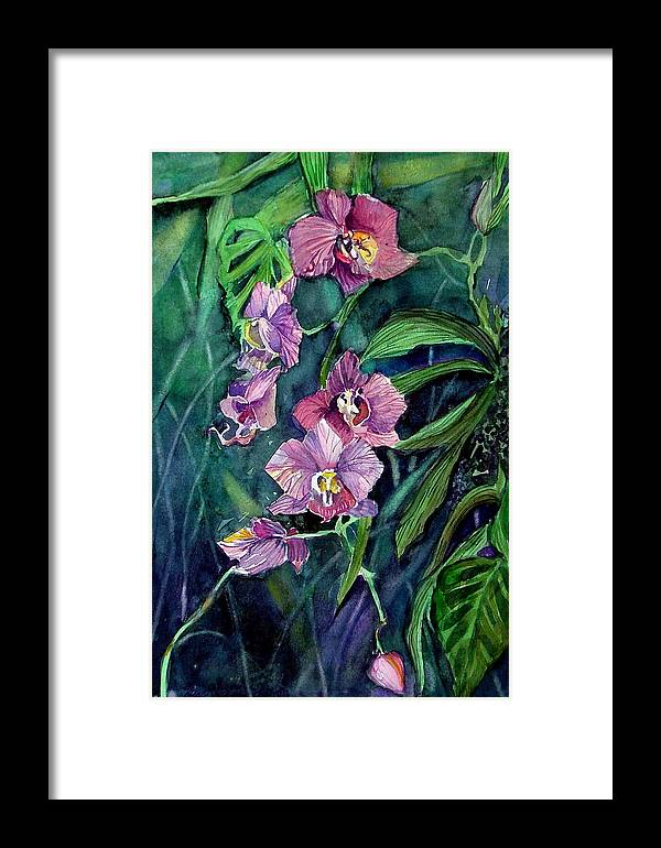 Orchid Framed Print featuring the painting Dark Orchid by Mindy Newman