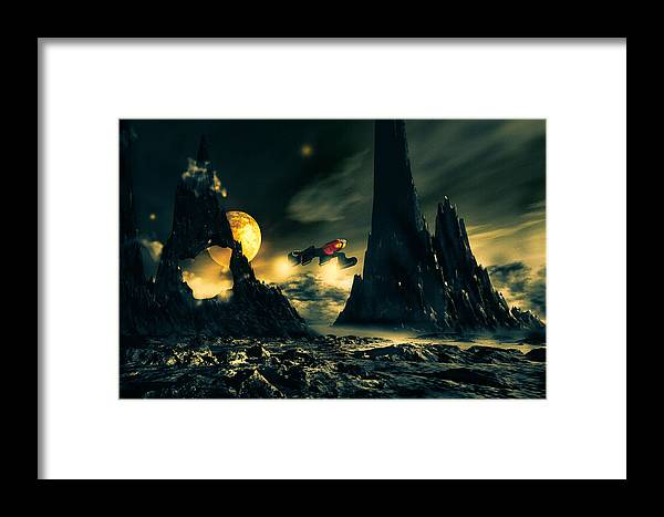 Science Fiction Framed Print featuring the mixed media Dark Planet by Bob Orsillo