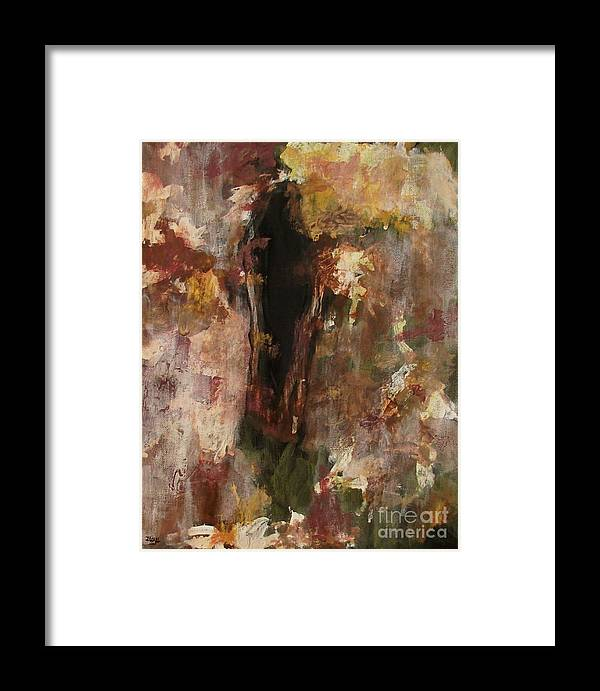 Abstract Framed Print featuring the painting Dark Presence by Itaya Lightbourne