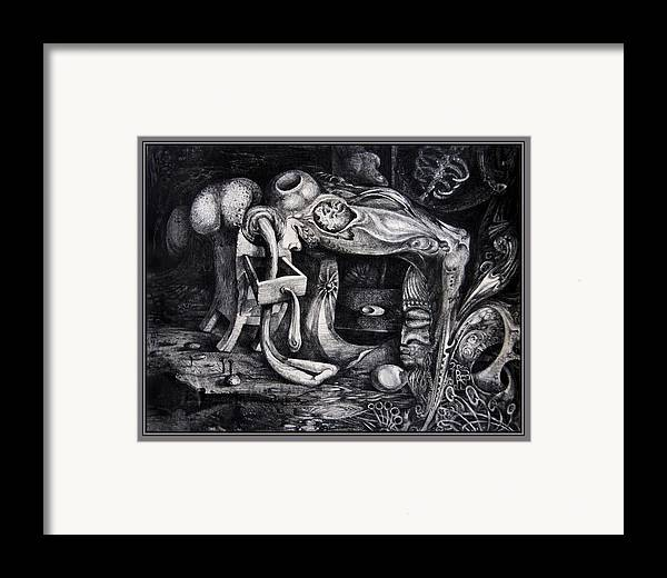 Drawing Framed Print featuring the drawing Dark Surprise by Otto Rapp
