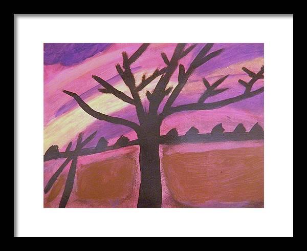 Framed Print featuring the painting Dark Tree by Pamela Ratliff
