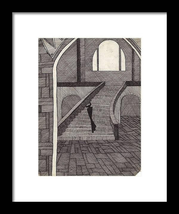 Cross Hatch Framed Print featuring the drawing Darkness Decending by Geoffroy Dextraze