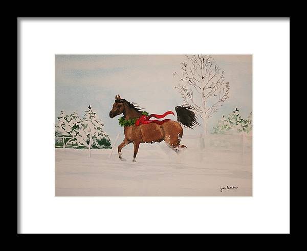 Horse Framed Print featuring the painting Dashing Thru The Snow by Jean Blackmer