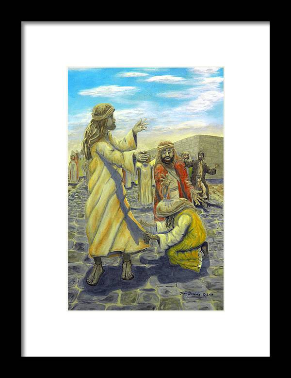 Christ Framed Print featuring the painting Daughter your faith has Healed you by Dan Bozich