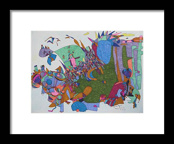 Abstract Collaboration Framed Print featuring the mixed media Dave's Mind by James SheppardIII