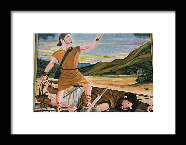 Biblical Framed Print featuring the painting David And Goliath by Desenclos Patrick