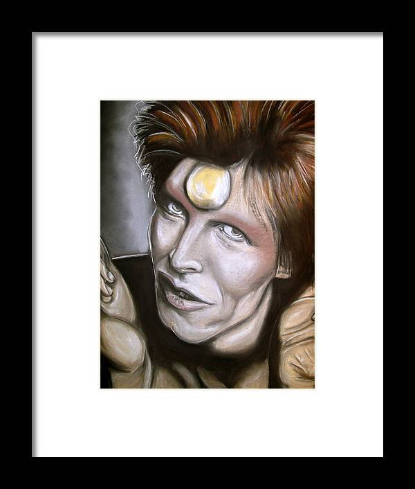 David Framed Print featuring the drawing David Bowie As Ziggy Stardust by Zach Zwagil