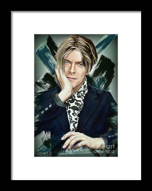 David Bowie Framed Print featuring the pastel David Bowie by Melanie D
