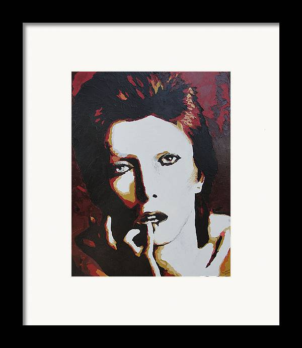 David Bowie Framed Print featuring the painting David Bowie by Ricklene Wren