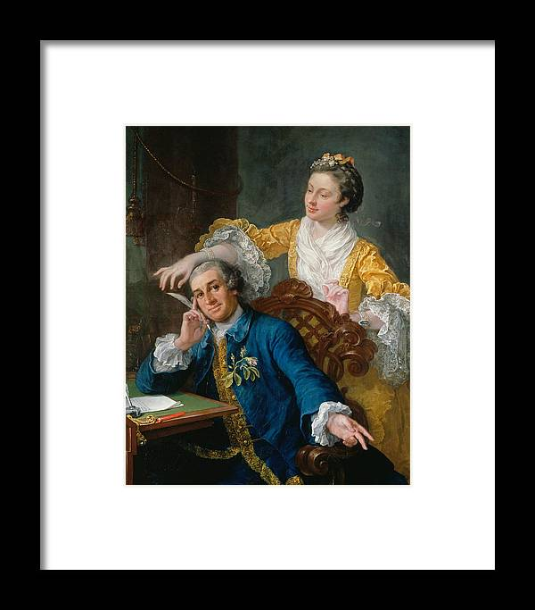 William Hogarth Framed Print featuring the painting David Garrick With His Wife Eva-maria Veigel by William Hogarth