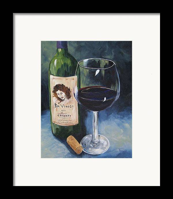 Wine Framed Print featuring the painting Davinci Chianti For One  by Torrie Smiley