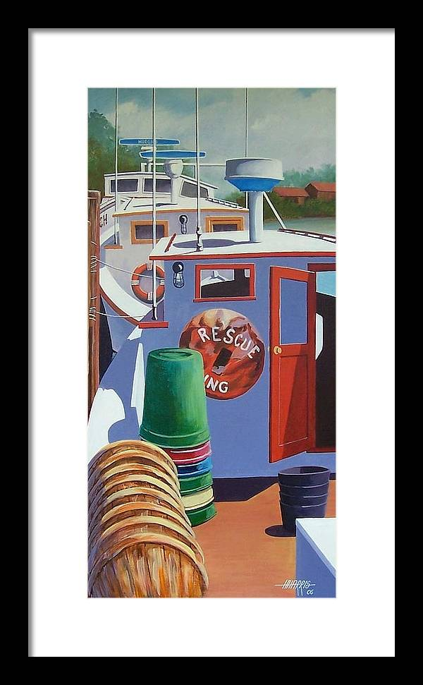Workboats Framed Print featuring the painting Davis Creek Boats by Hugh Harris