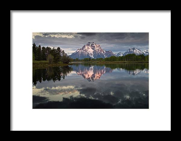 Grand Tetons National Park Framed Print featuring the photograph Dawn At Oxbow Bend by Greg Nyquist