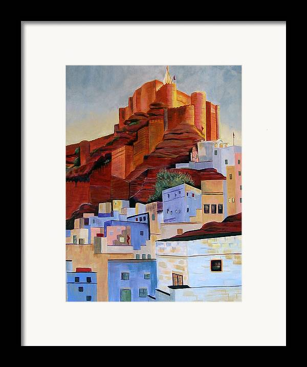 Landscape Framed Print featuring the painting Dawn At The Fort In Jodhpur by Art Nomad Sandra Hansen
