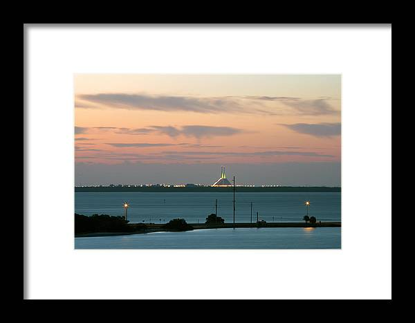 Sunshine Framed Print featuring the photograph Dawn At The Sunshine Skyway Bridge Viewed From Tierra Verde Florida by Mal Bray