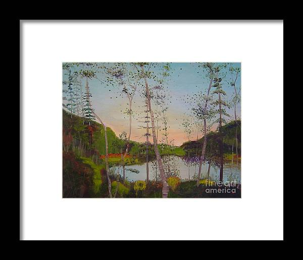 Landscape Framed Print featuring the painting Dawn By The Pond by Lilibeth Andre