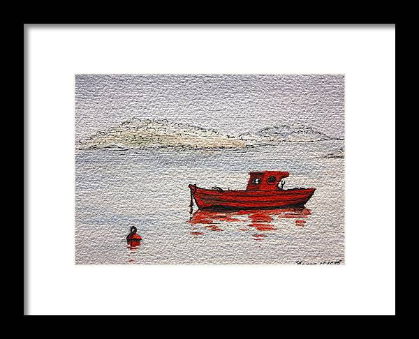 Boat Framed Print featuring the painting Dawn Fishing by Yvonne Ayoub