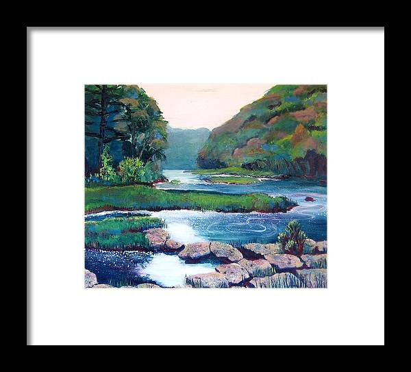 River Framed Print featuring the painting Dawn In West Virginia by Art Nomad Sandra Hansen