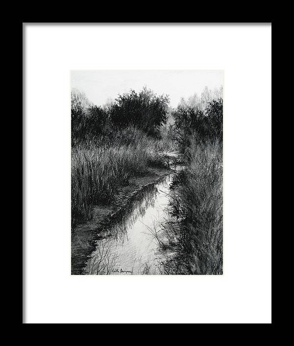 Charcoal Framed Print featuring the drawing Dawn Marsh by Keith Burgess