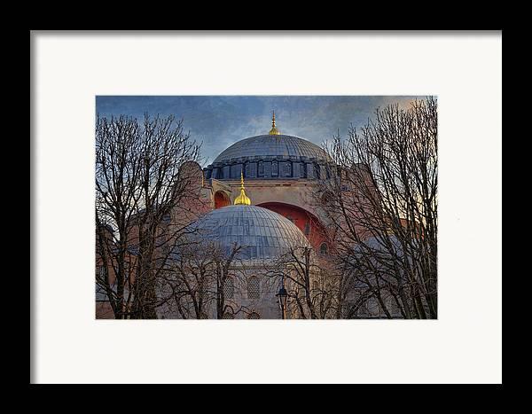 Hagia Sophia Framed Print featuring the photograph Dawn Over Hagia Sophia by Joan Carroll
