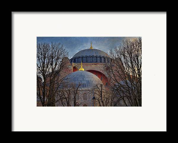 Hagia Sophia Framed Print featuring the photograph Dawn Over Hagia Sophia by Joan Carroll