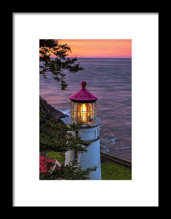 Lighthouse Framed Print featuring the photograph Dawn Over Heceta Head by Andrew Soundarajan