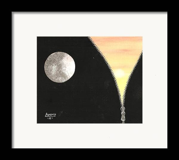 Moon Framed Print featuring the painting Day And Night by Edwin Alverio