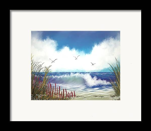 Sea Framed Print featuring the painting Day At The Beach by Harry Dusenberg