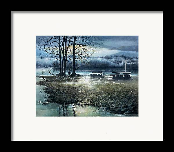 Landscape Framed Print featuring the painting Day Break On Inlet Port Moody by Dumitru Barliga