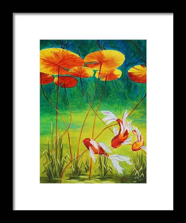 Koi Framed Print featuring the painting Day Dreamin by Karen Dukes