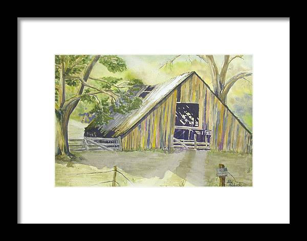 Old Barn Framed Print featuring the painting Day Is Done by Ally Benbrook