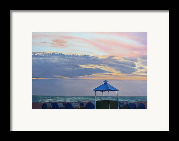 Sunset Framed Print featuring the painting Day Is Done by Lea Novak