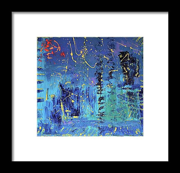 Blue Framed Print featuring the painting Day Light Saving Time by Pam Roth O'Mara