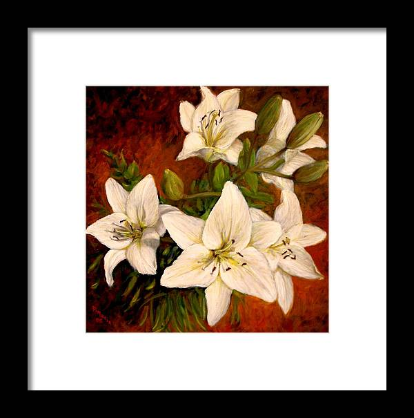 Realism Framed Print featuring the painting Day Lilies by Donelli DiMaria