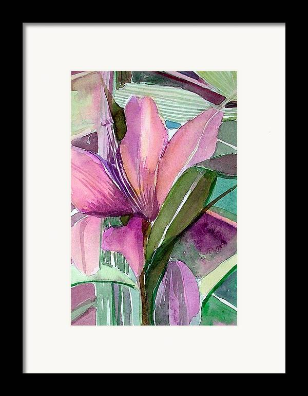 Flower Framed Print featuring the painting Day Lily Pink by Mindy Newman