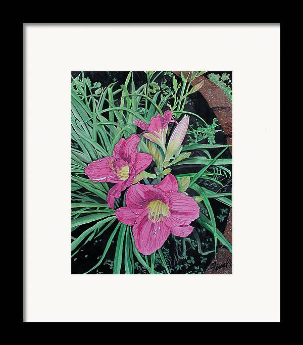 Day Lily Framed Print featuring the painting Day Llily by Ferrel Cordle