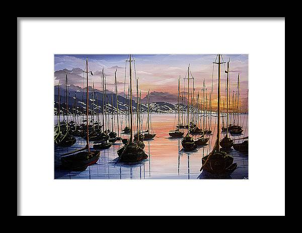 Seascape Painting Yacht Painting Harbour Painting Port Of Spain Trinidad And Tobago Painting Caribbean Painting Tropical Seascape Yachts  Painting Boats Dawn Breaking Greeting Card Painting Framed Print featuring the painting Daybreak by Karin Dawn Kelshall- Best