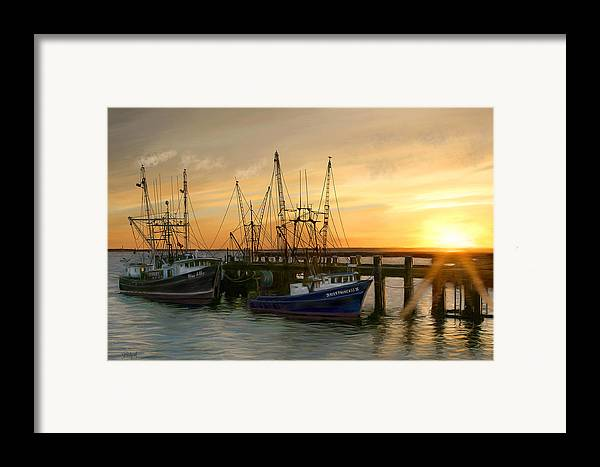 Boats Framed Print featuring the digital art Daybreak by Sue Brehant