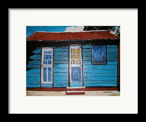 House Framed Print featuring the painting Daydreaming Blues by Ricklene Wren