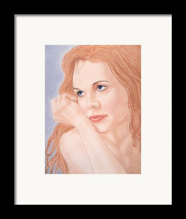 Woman Framed Print featuring the drawing Daydreams by Nicole I Hamilton