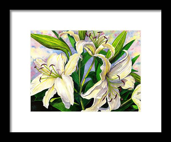 Lily Framed Print featuring the painting Daylilies 2 by Catherine G McElroy
