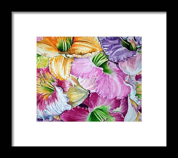 Lillies Framed Print featuring the print Daylillies by Bette Gray