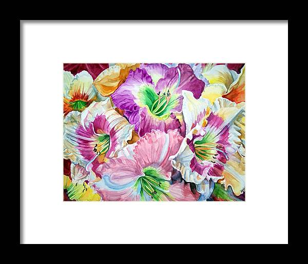 Flowers Framed Print featuring the print Daylilliesll by Bette Gray