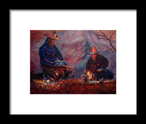 Campfire Framed Print featuring the painting days done II by Tommy Winn